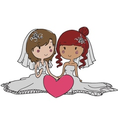 gay girl wedding vector image