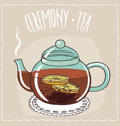 Glass teapot with black tea with lemon vector
