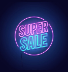 Glowing light retro sale neon sign vector