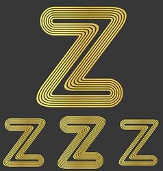 Golden z letter logo design set vector