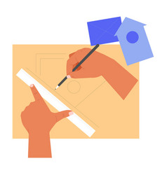 Hands handcraft ruler and pencil drafting vector