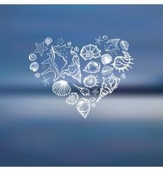 heart of sea shells summer holidays vector image