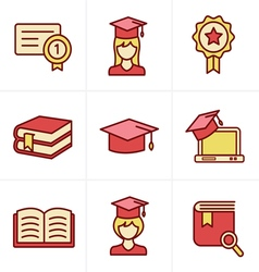 Icons Style Education icons set vector image