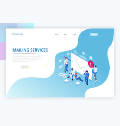 Isometric mailing list or mailing services online vector