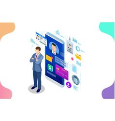 Isometric personal data information app identity vector