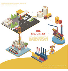 Isometric petroleum industry round template vector
