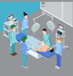 Isometric surgery room composition vector