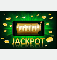 jackpot shiny gold casino label with money coins vector image