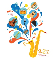 Jazz Music Instruments Saxophone with Icons vector