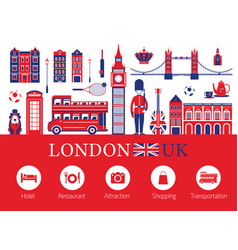 london england and travel accommodation icons vector image