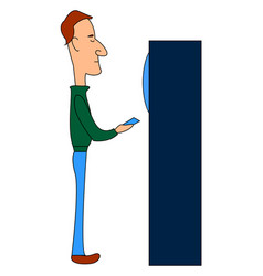 man at atm on white background vector image