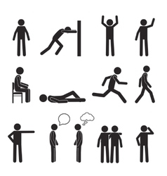 Man posture pictograph icons set human body action vector