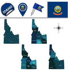Map of idaho with regions vector