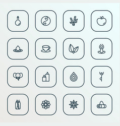 meditation icons line style set with apple cup of vector image