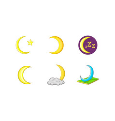 moon icon set cartoon style vector image