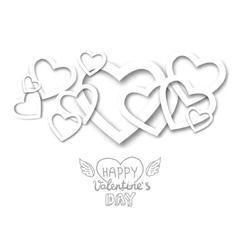 Paper heart banner vector