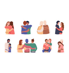 People hug men and women different ages vector
