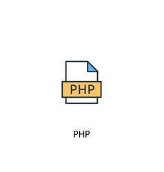 php concept 2 colored line icon simple yellow and vector image