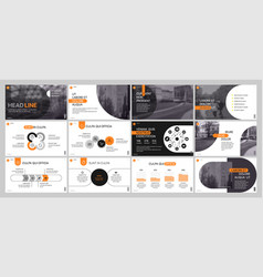 presentation template orange elements for slide vector image