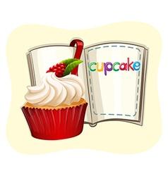 Rasberry cupcake and a book vector