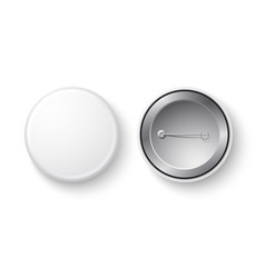 realistic pin badge button white mock up vector image
