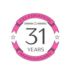 Realistic thirty one years anniversary celebration vector