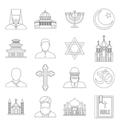 Religious symbol icons set outline style vector image