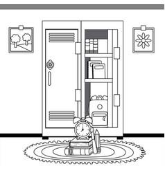 School locker and supplies design vector