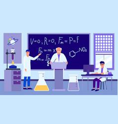 Scientific lecture in laboratory professor vector