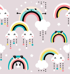 Seamless childish pattern with cute rainbow stars vector