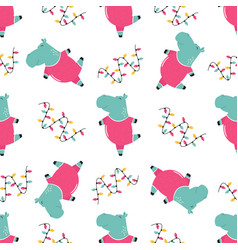 Seamless pattern with cute dancing hippo vector