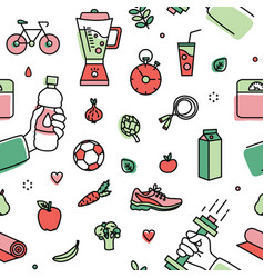 Seamless pattern with healthy lifestyle attributes vector