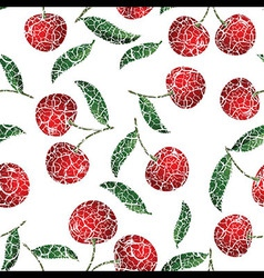 Seamless red cherry background vector image