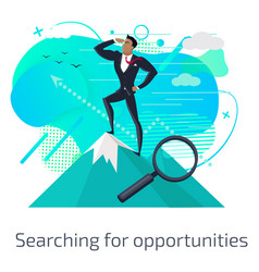searching for opportunities mountain peak vector image