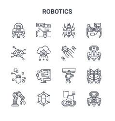 set 16 robotics concept line icons 64x64 thin vector image