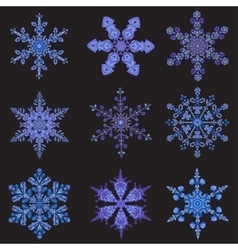 Set hand-drawn doodles color snowflake Zentangle vector