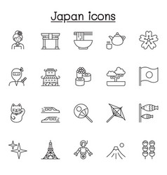set japan related line icons contains vector image