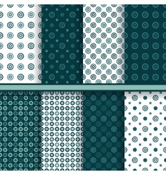 Set of circle round seamless patterns vector image