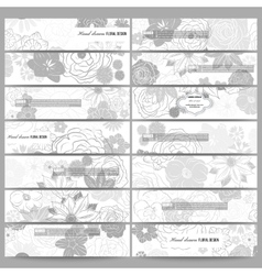 Set of modern banners Hand drawn floral doodle vector image