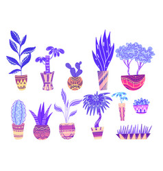 set of neon cartoon home flowers in pots with vector image