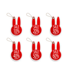 set of price discount sale tag label in rabbit vector image