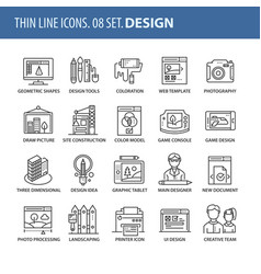 set of thin line flat icons design vector image