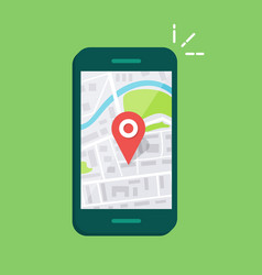 Smartphone with navigation app and red pin vector