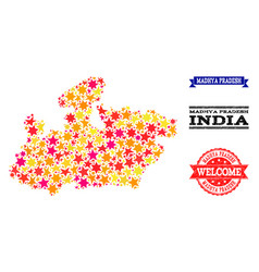 Star mosaic map of madhya pradesh state and rubber vector