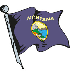state montana flag waving form on white vector image