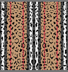 Striped leopard fashion seamless pattern vector