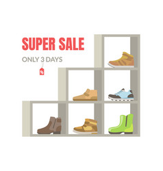 Super sale banner season footwear on shelves vector