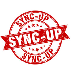 Sync-up round grunge ribbon stamp vector