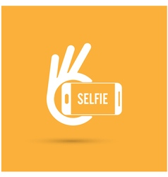 Taking selfie portrait photo on smart phone vector image