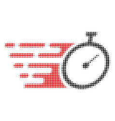 Time tracker halftone dotted icon with fast rush vector